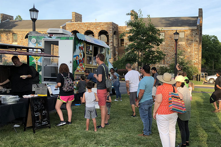 Food vendors at Movies on the Lawn, Ursinus College, Collegeville Borough